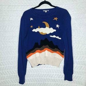 Coach Printed Knit Sweater Pullover Navy Blue - L